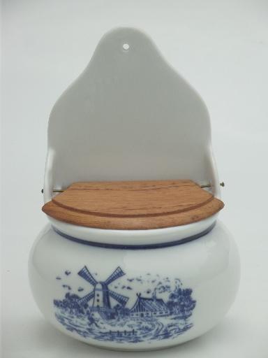 Blue Amp White China Salt Box Vintage Delft Style Dutch
