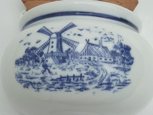 blue & white china salt box, vintage Delft style Dutch windmills scene
