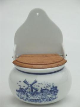 blue & white china salt box, vintage Delft style Dutch windmills scene