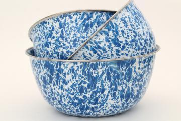 blue & white enamelware bowl set nesting mixing bowls, spatter ware swirl enamel