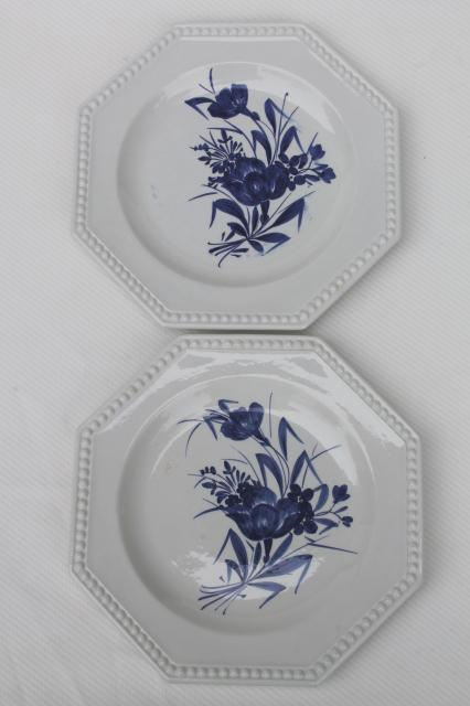 blue & white floral hand-painted earthenware plates, vintage Italian pottery