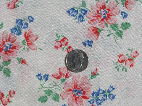bluebells and pink flowers, vintage cotton print feedsack fabric