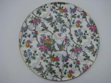 bluebirds chintz, vintage Royal Tudor Ware china cake plate plateau