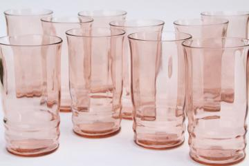 blush pink depression glass tumblers, set of 10 vintage drinking glasses