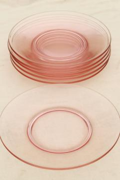 blush pink vintage depression glass salad / dessert plates, set of 6