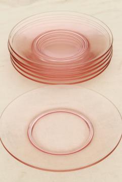 blush pink vintage depression glass salad / dessert plates, set of 6