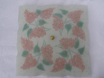 blush-pink lilacs vintage painted glass shade ceiling light fixture