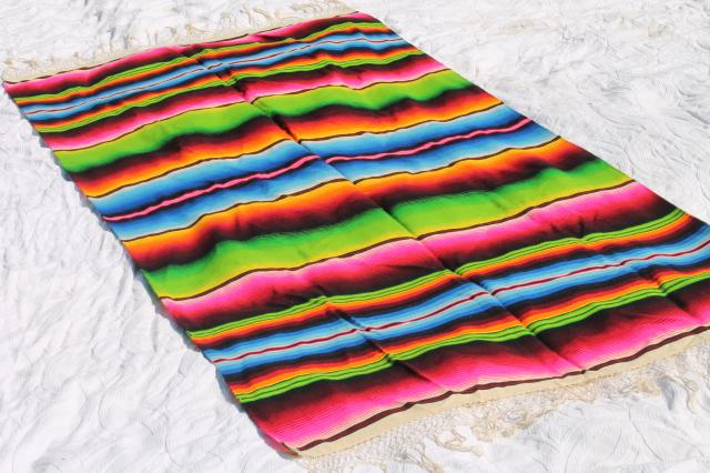 Bohemian Style Vintage Mexican Indian Blanket Rug W Crazy Bright Colored Stripes
