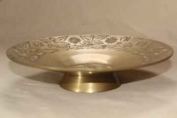 bohemian style vintage etched brass candle holder, pillar candle stand