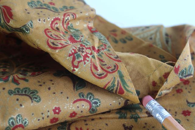 bohemian style vintage fabric, deep mustard yellow & red paisley w/ metallic gold accents