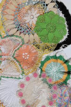 bohemian vintage crochet lace doilies, funky retro colored thread crocheted doily lot