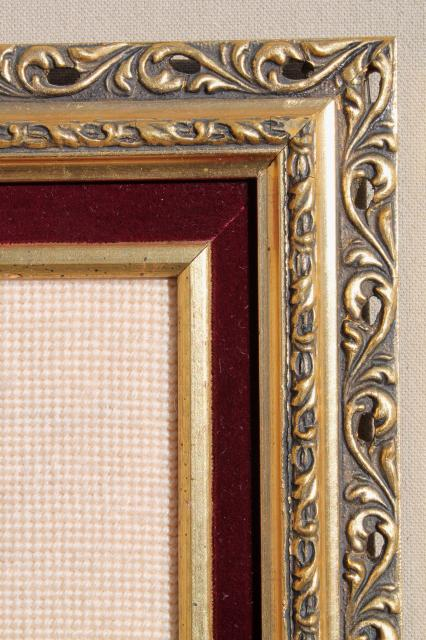 bohemian vintage framed rose bouquet crewel wool needlepoint picture in fancy gold frame