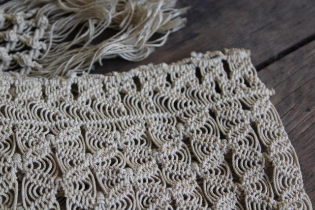bohemian vintage hand knotted lace window valance panels, natural linen thread macrame