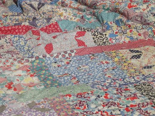 Bohemian Vintage Patchwork Quilt All Colors 30s 40s 50s