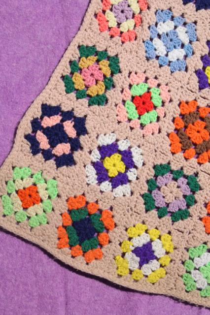 boho retro 70s vintage bedding, colorful granny square afghan & soft purple blanket
