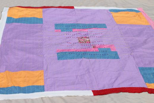 boho vintage quilt w/ running stitch & hand embroidery, color block cotton bed