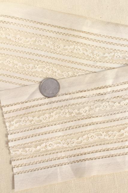 bolts of antique vintage wide lace insertion, white cotton batiste french alencon lace