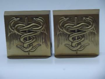 book ends pair heavy brass bookends w/ Caduceus, old PM Craftsman label
