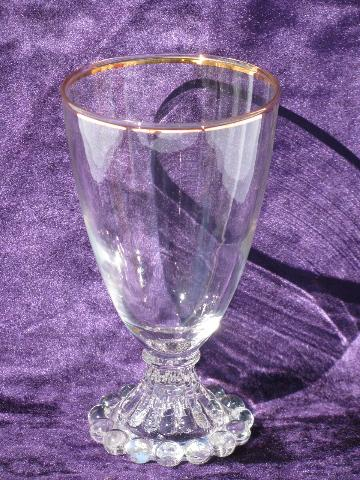 boopie bead footed vintage water glasses, hard to find original gold trim