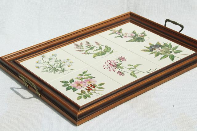botanical tiles vintage serving tray, wood framed tile tray Tilecrafts  Staffordshire England