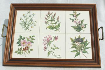 botanical tiles vintage serving tray, wood framed tile tray Tilecrafts Staffordshire England