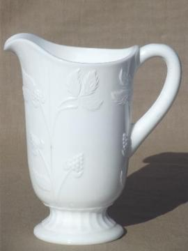 bramble berry pattern vintage milk glass pitcher, Westmoreland glass