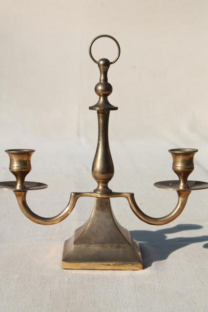 branched brass candlestick, twin light chamber candle stick lamp w/ ring handle