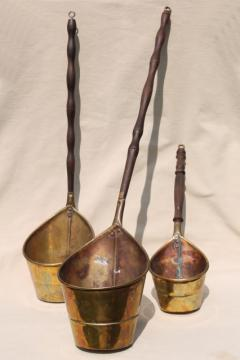brass dipper pails w/ long wood handles, vintage reproduction antique metalware
