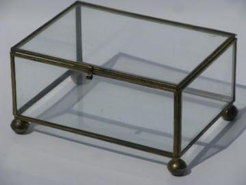 brass edged glass display box for treasures or natural history mounts