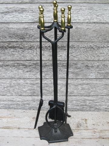 brass handled iron fireplace tools set, Adams - Dubuque stand w/irons