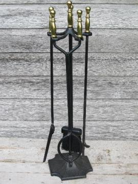 brass handled iron fireplace tools set, Adams - Dubuque stand w/irons