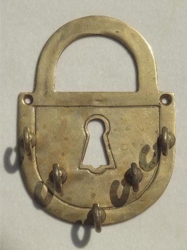 brass padlock skeleton key vintage lock key wall hooks for keys. Black Bedroom Furniture Sets. Home Design Ideas