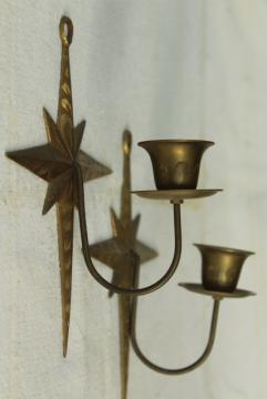 brass star candle holder wall sconces, 70s 80s vintage solid brass made in India