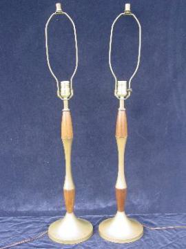 brass / teak pair danish modern vintage lamps