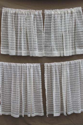 white vintage summer curtains with dotted swiss look, tufted sheer