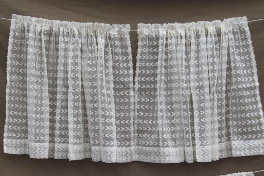 breezy white vintage summer curtains with dotted swiss look, tufted sheer cotton scrim fabric curtain panels