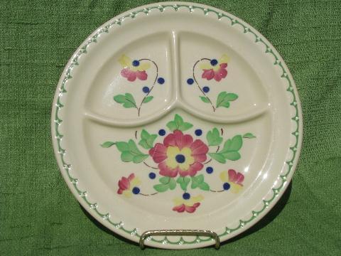 Bright Flowers On Adobe Tan Vintage Syracuse Econo Rim & Bistro Brights Dinnerware - Castrophotos