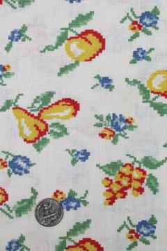 bright fruit print cotton feed sack, authentic vintage fabric for quilting etc.