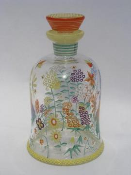 bright hand-painted flowers, vintage glass cruet bottle w/ stopper