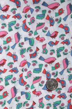 bright little bird print vintage cotton or blend sheeting, retro sheet print fabric