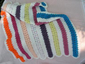 bright stripes hand-crocheted baby afghan, small lap blanket throw