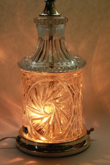 brilliant cut glass table lamp, vintage crystal clear lead crystal label