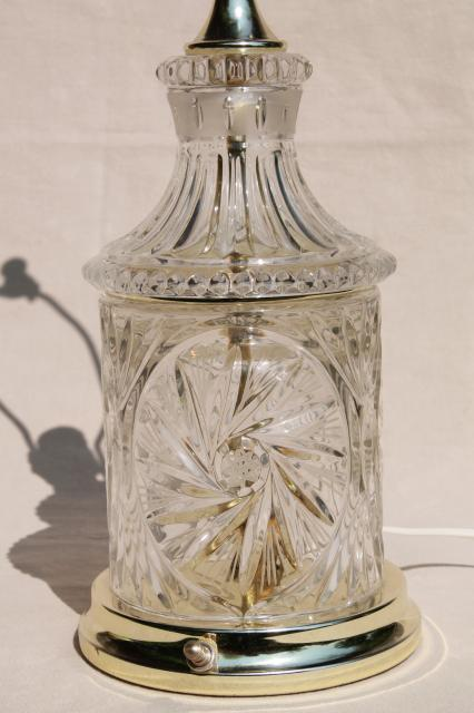 Brilliant Cut Glass Table Lamp Vintage Crystal Clear Lead