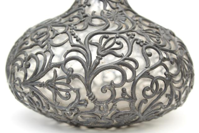 broken antique glass bottle, decanter w/ applied pewter overlay dull silver metal filigree