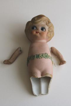 broken googly doll, vintage Japan china doll w/ waved bob and big wide ey