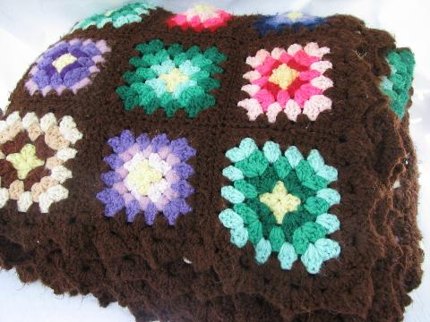 brown w/ bright colors, retro vintage granny square crochet afghan blanket
