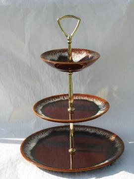 brown drip pottery, retro tiered serving plate for cake, sandwiches