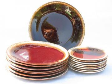 brown drip pottery, retro vintage stoneware plates in two sizes, set for 8