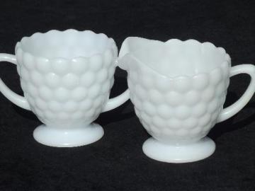 bubble milk white glass cream pitcher and sugar set, 50s vintage AH glass