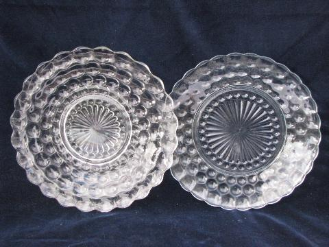 bubble pattern, depression pressed glass dishes lot, vintage